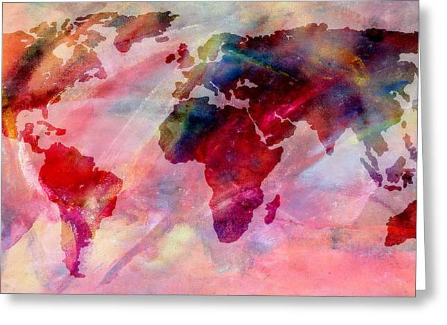 Maps Globes And Flags Greeting Cards - World Map Splash of Color Greeting Card by Athena Mckinzie