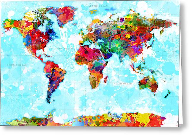 World Map Splattered Greeting Card by Gary Grayson