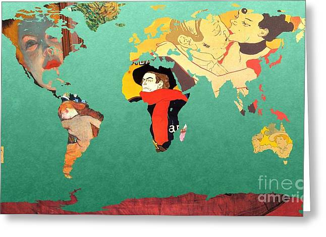 Illustrator Art Greeting Cards - Toulouse-Lautrec 1  World map Greeting Card by John Clark