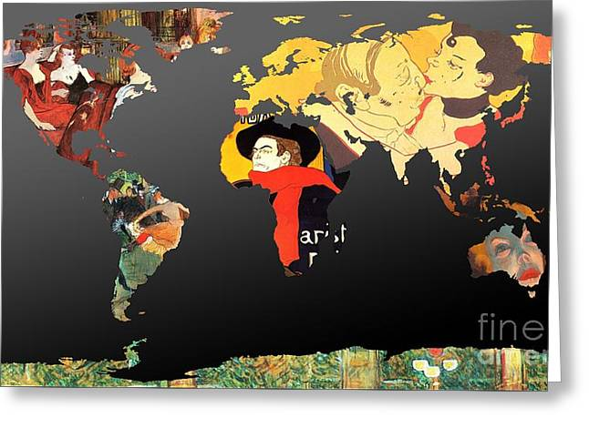 Illustrator Art Greeting Cards - Toulouse-Lautrec 2  World Map Greeting Card by John Clark