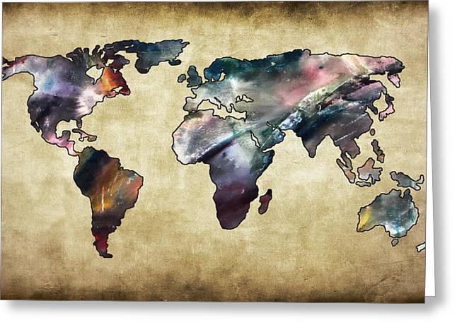Maps Globes And Flags Greeting Cards - World Map V Greeting Card by Athena Mckinzie