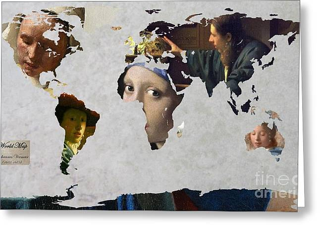 Astronomers Greeting Cards - World Map  Vermeer 1 Greeting Card by John Clark