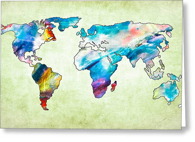 Maps Globes And Flags Greeting Cards - World Map VIIII Greeting Card by Athena Mckinzie