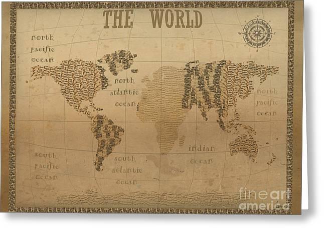 Vintage Map Digital Art Greeting Cards - World Map Vintage Greeting Card by Bri Buckley