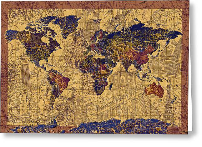 Map Of Canada Greeting Cards - World Map Vintage Greeting Card by MB Art factory