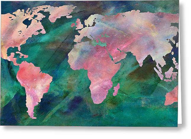 Maps Globes And Flags Greeting Cards - World Map Vivid Greeting Card by Athena Mckinzie