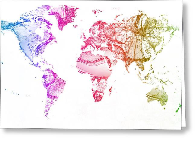 Clean Water Mixed Media Greeting Cards - World map water splash pale pink gamma Greeting Card by Eti Reid