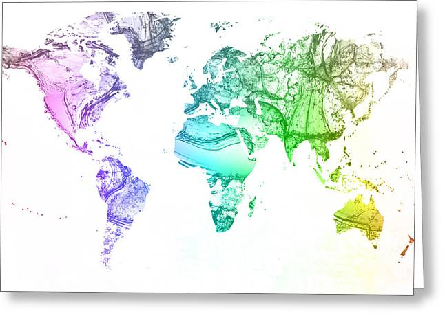 Clean Water Mixed Media Greeting Cards - World map water splash rainbow colors Greeting Card by Eti Reid