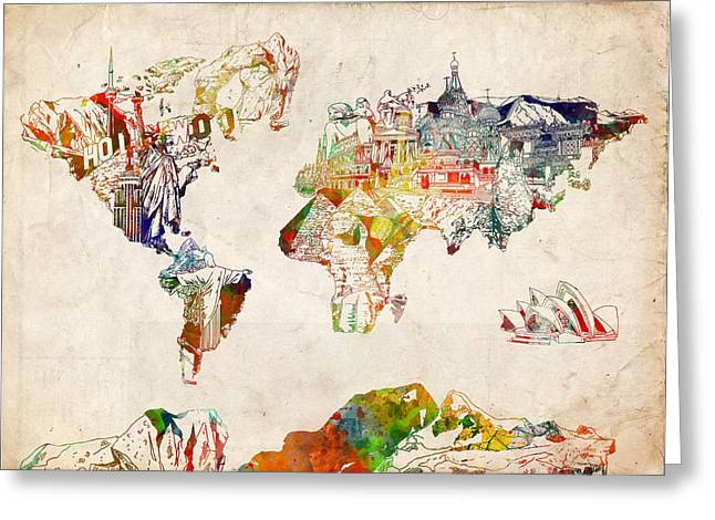 Urban Images Greeting Cards - World Map Watercolor 5 Greeting Card by MB Art factory