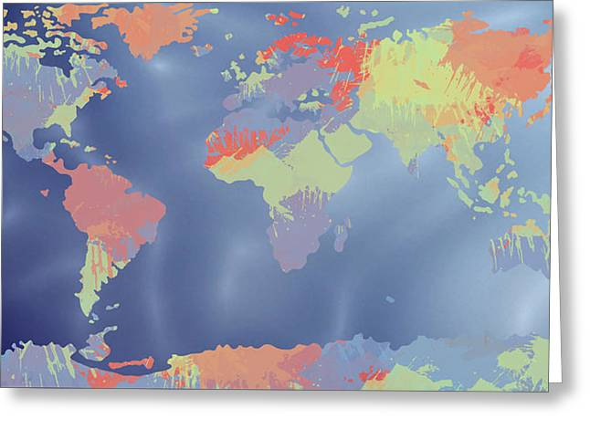 Top Seller Greeting Cards - World Map watercolor and oceans Greeting Card by Paulette B Wright