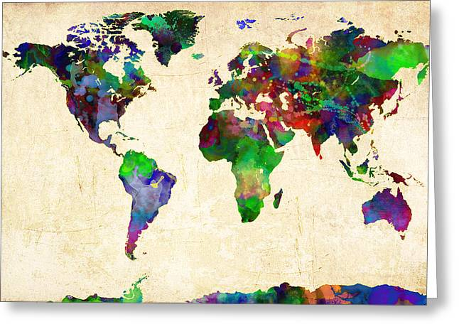 Atlas Print Greeting Cards - World Map Watercolor Greeting Card by Gary Grayson