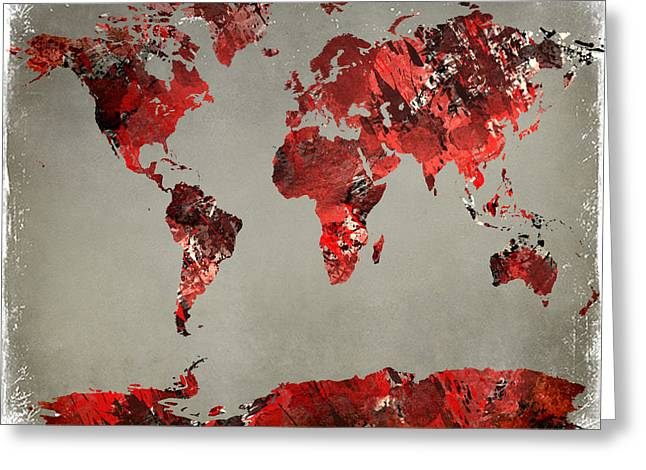 Popular Art Greeting Cards - World Map - watercolor red-black-gray Greeting Card by Paulette B Wright