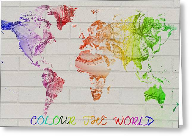 Clean Water Mixed Media Greeting Cards - World map watercolor splash on a brick wall Greeting Card by Eti Reid