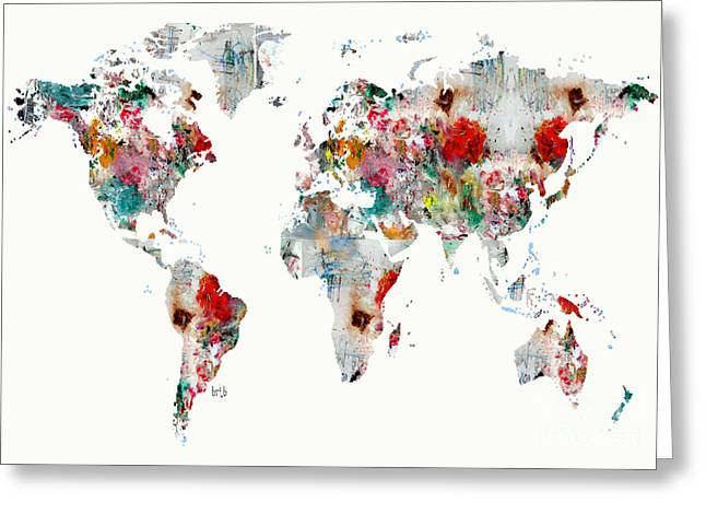 Abstract Map Greeting Cards - World Map Watercolour Greeting Card by Bri Buckley