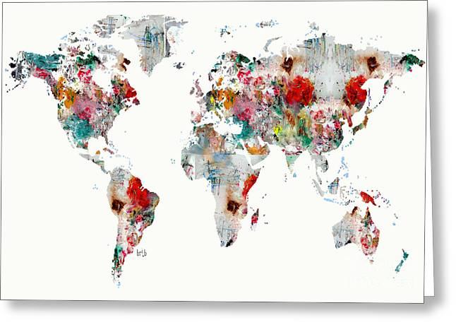 World Digital Map Greeting Cards - World Map Watercolour Greeting Card by Bri Buckley