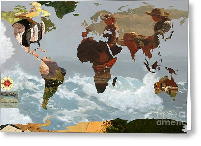 On The Beach Digital Greeting Cards - World Map Winslow Homer 1 Greeting Card by John Clark
