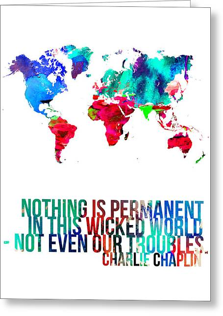 Atlas Greeting Cards - World Map with a Quote 3 Greeting Card by Naxart Studio