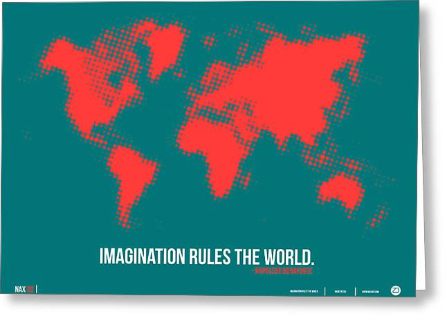Atlas Greeting Cards - World Map with a Quote 6 Greeting Card by Naxart Studio