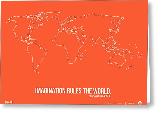 Atlas Greeting Cards - World Map with a Quote 7 Greeting Card by Naxart Studio