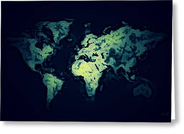 Amazing Ceramics Greeting Cards - World Map6 Greeting Card by Michael James Greene