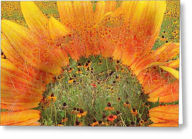 Pasture Scenes Mixed Media Greeting Cards - World of Flowers Greeting Card by Virginia Folkman