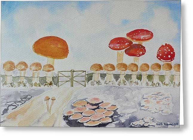 Button Mushrooms Greeting Cards - World of Mushroom  Greeting Card by Geeta Biswas