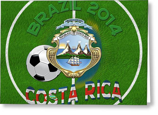 Costa Digital Greeting Cards - World of Soccer 2014 - Costa Rica Greeting Card by Serge Averbukh