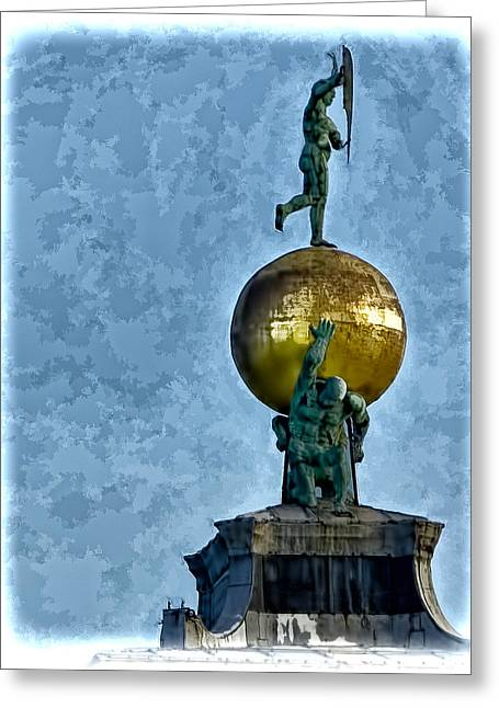 The Piazza Greeting Cards - World On His Back - Venice Italy Greeting Card by Jon Berghoff