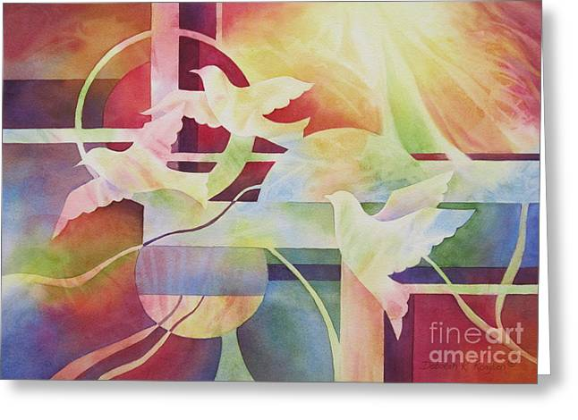 Sun Rays Paintings Greeting Cards - World Peace 2 Greeting Card by Deborah Ronglien