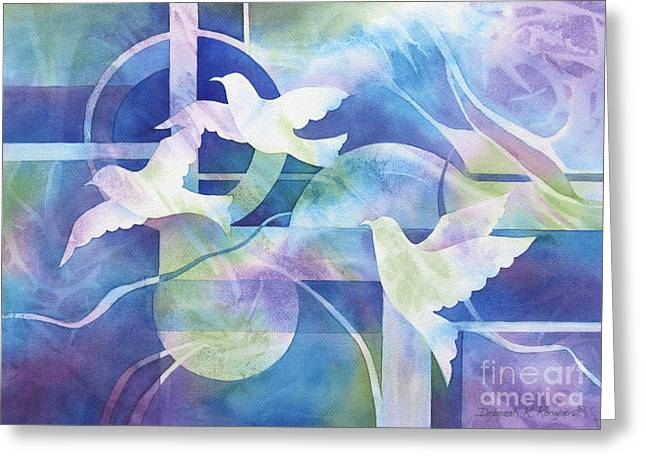 Jewel Tone Greeting Cards - World Peace Greeting Card by Deborah Ronglien