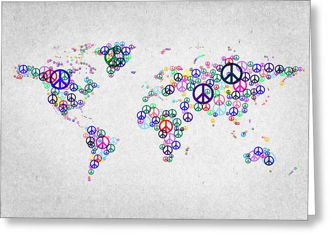 World Maps Mixed Media Greeting Cards - World Peace Map Greeting Card by Aged Pixel
