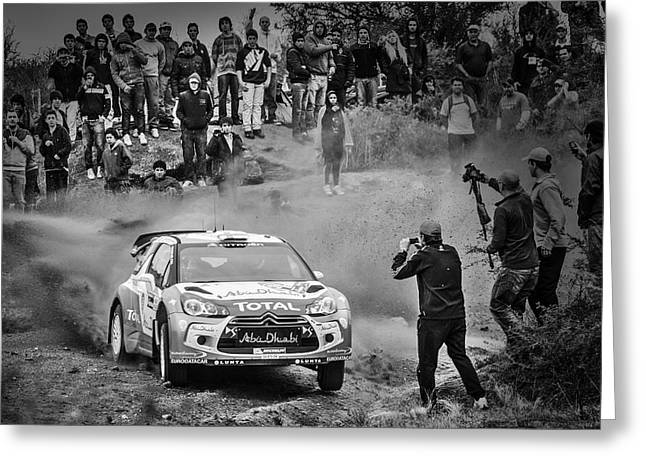 Wrc Greeting Cards - World Rally Championship in Black and White Greeting Card by Alejandro Zurcher