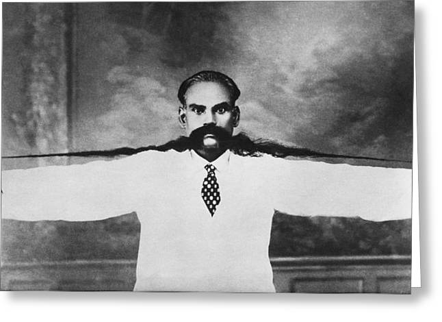 World Record Moustache Greeting Card by Underwood Archives