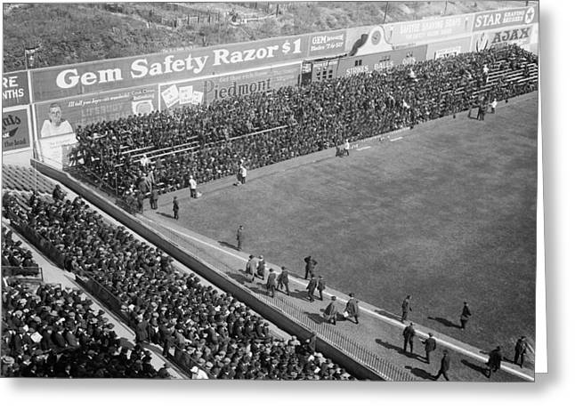Brooklyn Dodgers Stadium Greeting Cards - World Series Crowd at Ebbets Field Brooklyn 1920 Greeting Card by Mountain Dreams