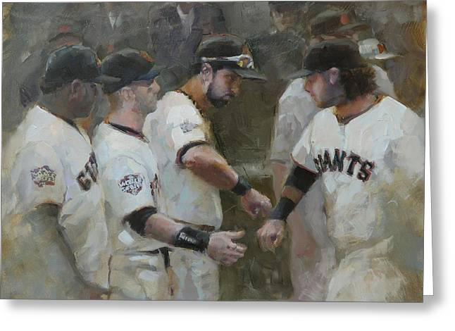 Sf Giants Greeting Cards - World Series Fist Bump Greeting Card by Darren Kerr