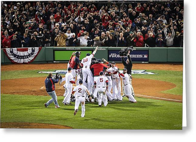 Fenway Park Greeting Cards - World Series Game Six 5 Greeting Card by Paul Treseler