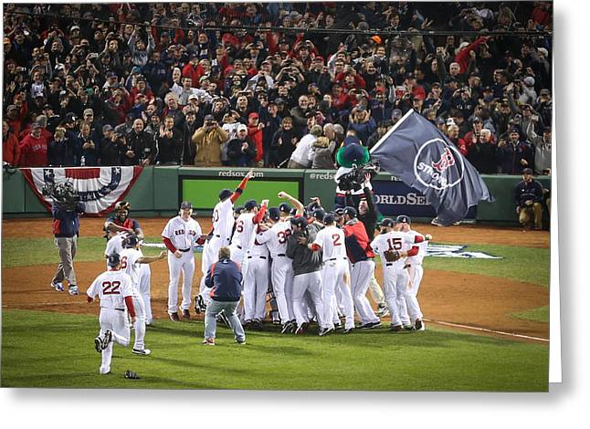 Fenway Park Greeting Cards - World Series Game Six 6 Greeting Card by Paul Treseler