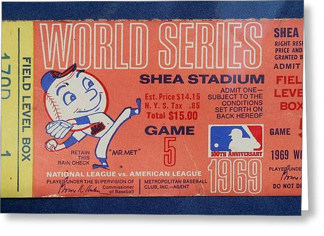 World Series Ticket Shea Stadium 1969 Greeting Card by Melinda Saminski