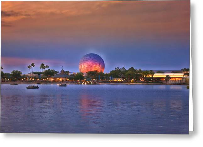 Wdw Greeting Card featuring the photograph World Showcase Lagoon Sunset by Thomas Woolworth