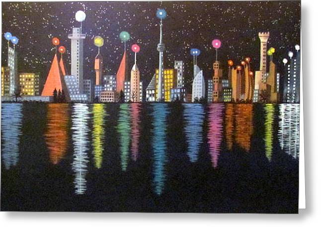 Twinkle Greeting Cards - World Skyline Greeting Card by Fay De Jong