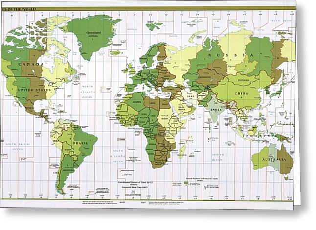 World Time Zones Greeting Card by Library Of Congress, Geography And Map Division