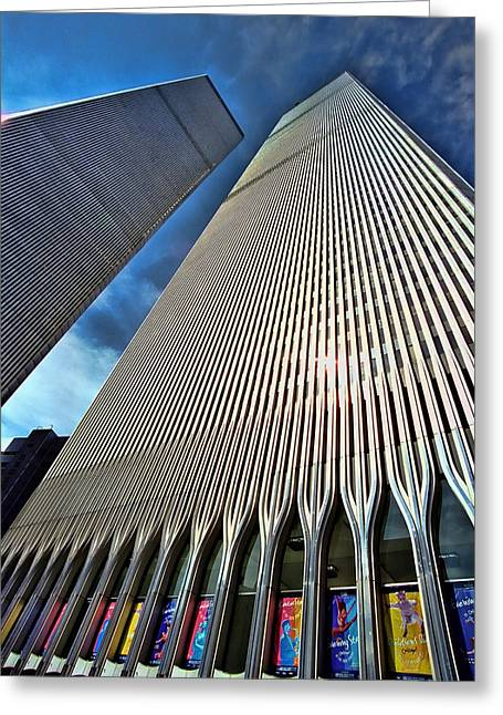 Terrorism Greeting Cards - World Trade Center  Greeting Card by Allen Beatty