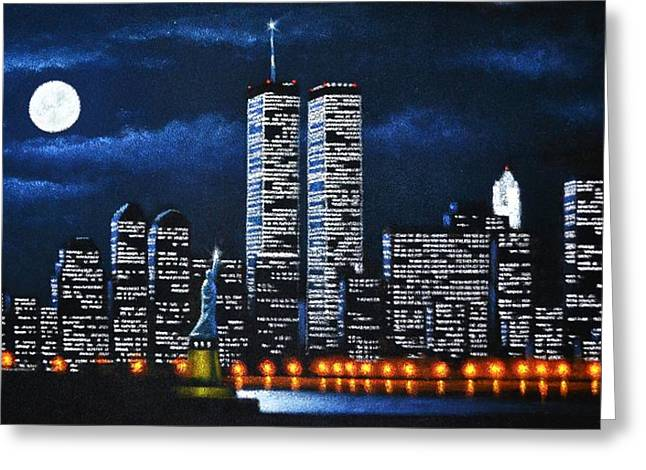 Dream Scape Paintings Greeting Cards - World Trade Center Buildings Greeting Card by Thomas Kolendra
