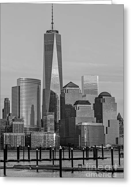 Blue Hour Greeting Cards - World Trade Center Freedom Tower NYC BW Greeting Card by Susan Candelario