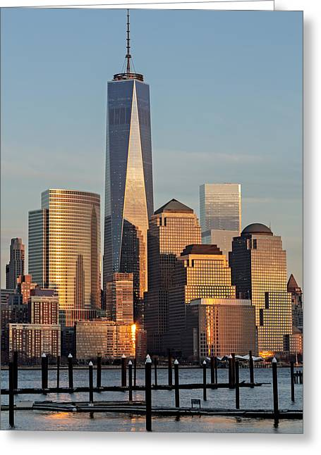 United States Greeting Cards - World Trade Center Freedom Tower NYC Greeting Card by Susan Candelario