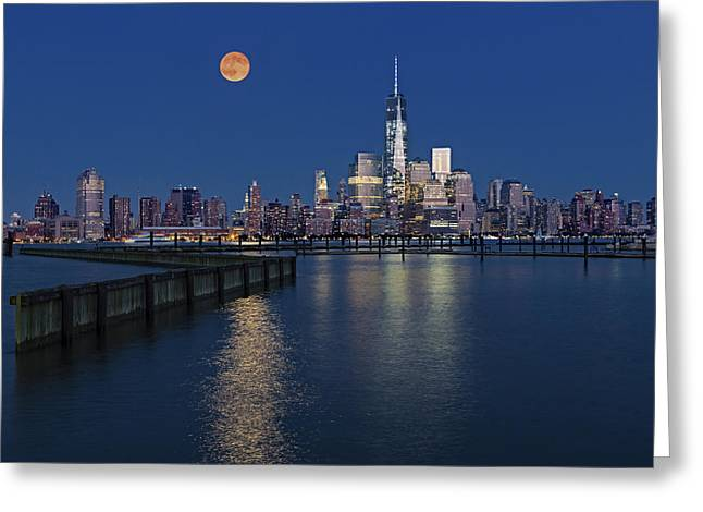 Moonrise Greeting Cards - World Trade Center Super Moon Greeting Card by Susan Candelario