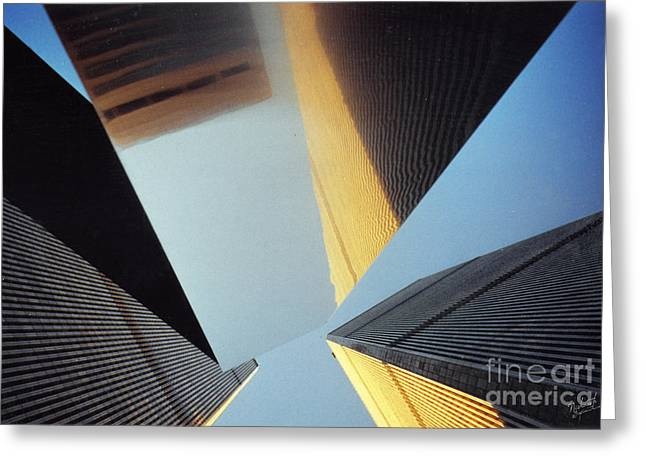 Wtc 11 Photographs Greeting Cards - World Trade Center Towers and the Ideogram 1971-2001 Greeting Card by Nishanth Gopinathan