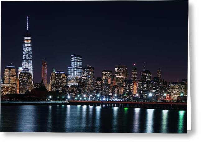 Division Greeting Cards - World Trade from Liberty State Park Greeting Card by Raymond Salani III