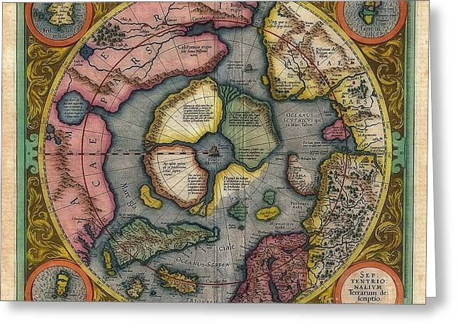 World Vintage Map Sepitentrio Nalivm Terrarum De Feriptio Greeting Card by Inspired Nature Photography Fine Art Photography