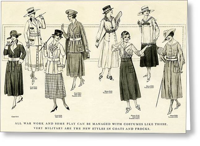 Fashion Plates Greeting Cards - World War 1 Fashions  1917 Greeting Card by Daniel Hagerman